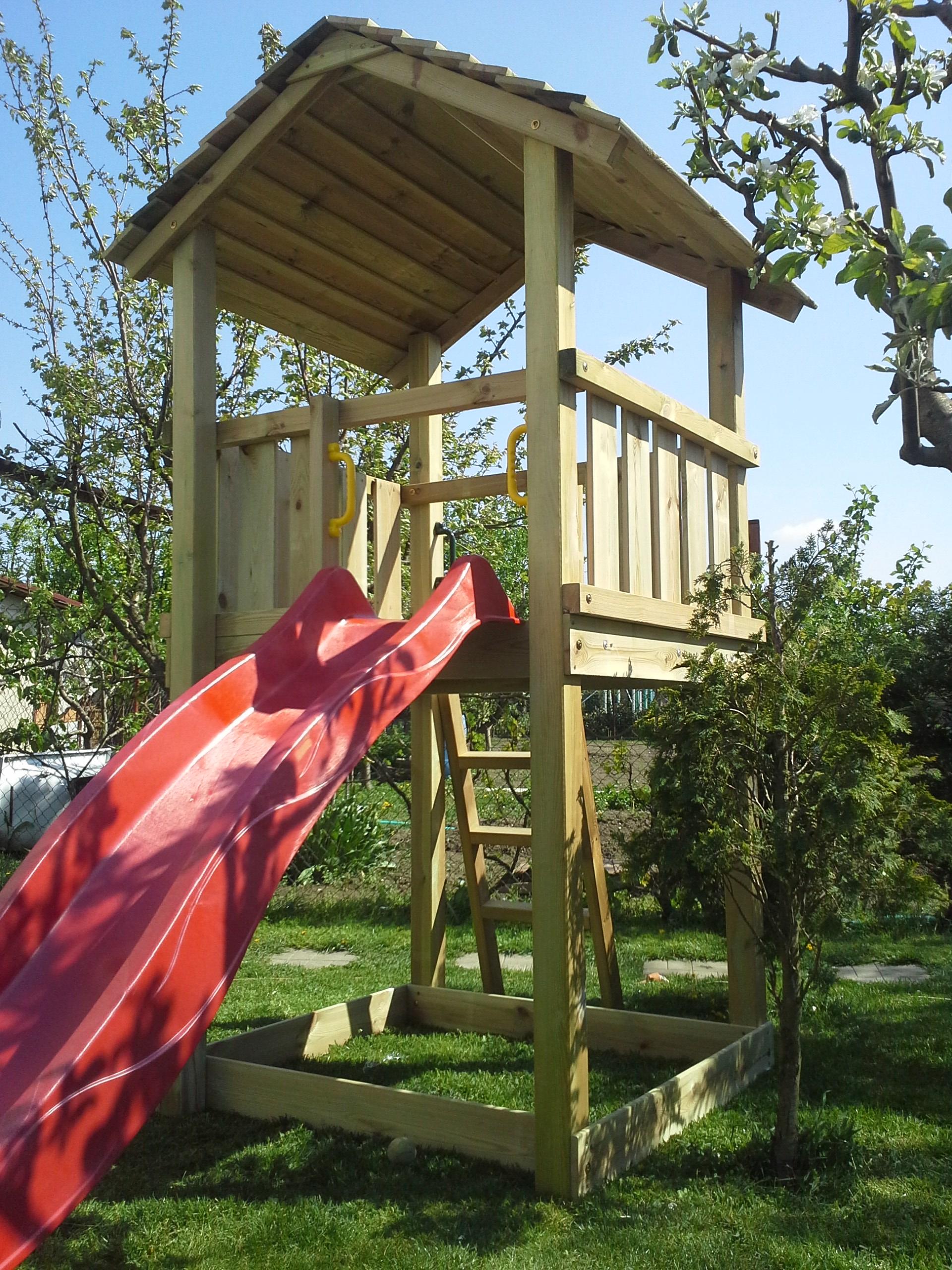 a26abe661ce55 Detský drevený domček Veža 2, šmýkačka, pieskovisko | Drevené detské ...